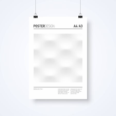 a3: Poster design abstract template in minimalism style with paper clips vector illustration