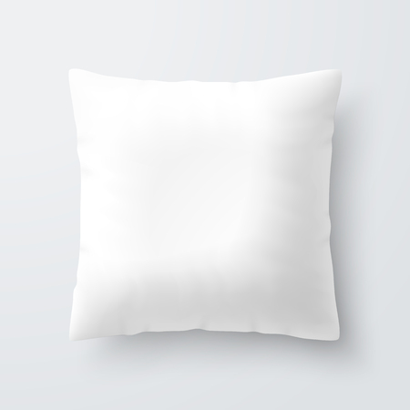 Blank white square pillow cushion Çizim