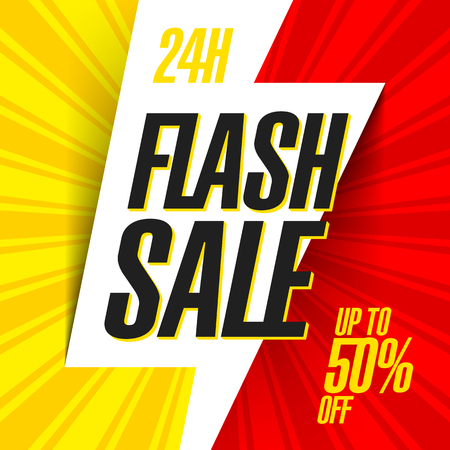 24 hour: 24 hour Flash Sale bright banner Illustration