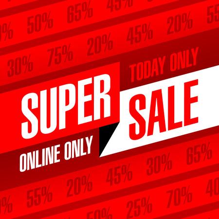 Vandaag de dag en alleen online Super Sale banner. Op een dag deal, speciale aanbieding, grote verkoop, ontruiming.