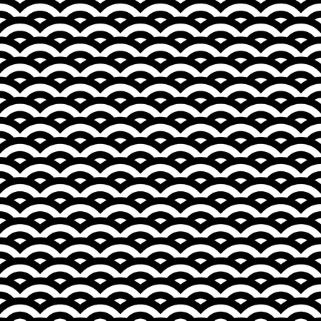 Black and white retro style pattern, seamless illustration Illustration