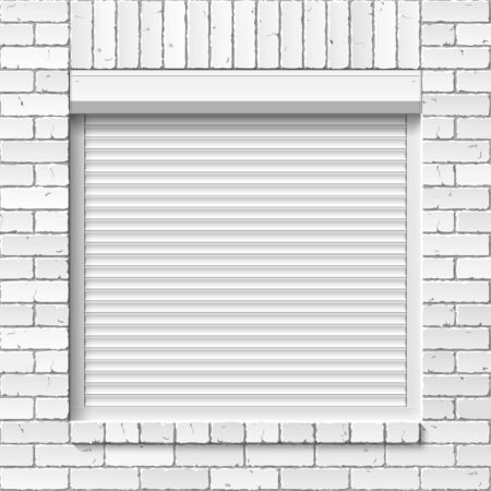 slat: Brick wall with close window, roller shutters Illustration