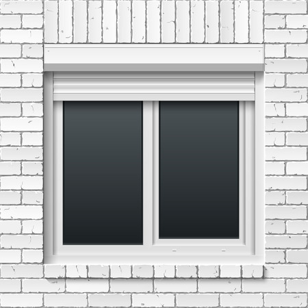 roller shutters: Brick masonry wall with window and rolling shutters