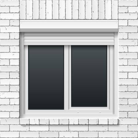 shutters: Brick masonry wall with window and rolling shutters