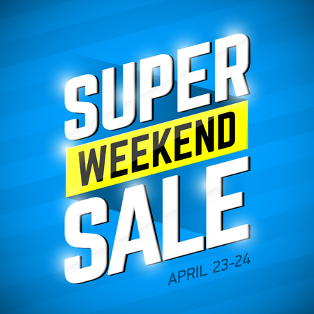 weekend: Super Sale Weekend special offer banner design. Big sale, clearance