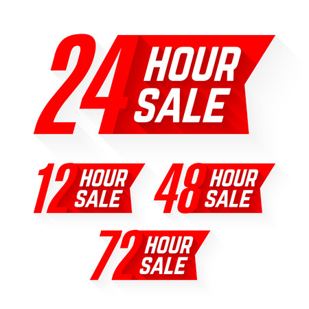 48: 12, 24, 48 and 72 Hour Sale labels Illustration