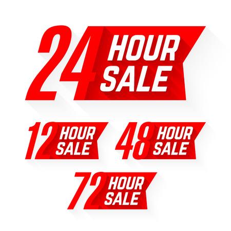 48: 12, 24, 48 and 72 Hour Sale labels Illustration