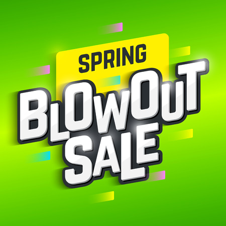 Primavera Blowout Sale banner. Offerta speciale, grande vendita, spazio. Vettoriali