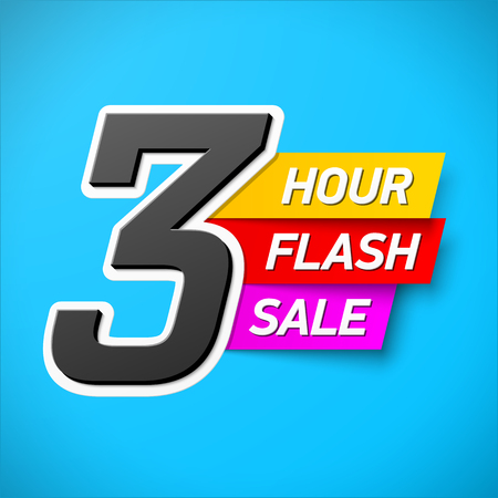clearance: 3 Hour Flash Sale banner. Special offer, big sale, clearance. Illustration