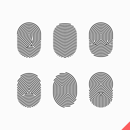 verification: Fingerprint icons set Illustration