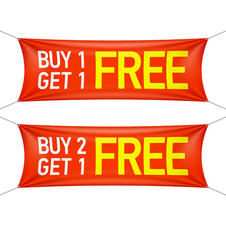 buy one: Buy one or two and get one for free banners