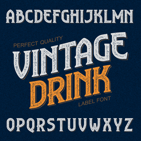 old english letter alphabet: Vintage drink label font. Ideal for any design in vintage style.