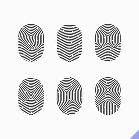 iconos de huellas digitales establecen Ilustración de vector