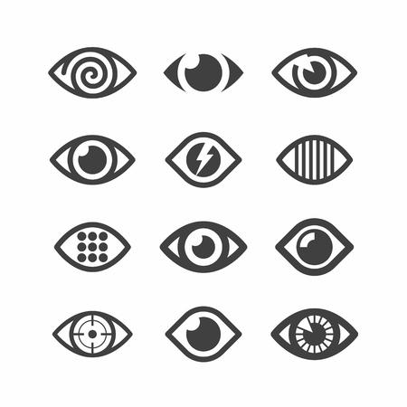 contact lens: Eye symbol icons Illustration