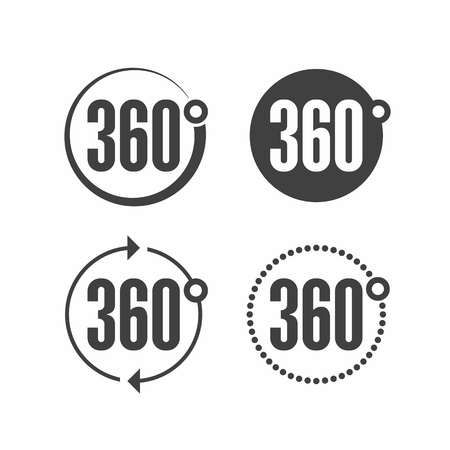 degrees: 360 degrees view sign icon