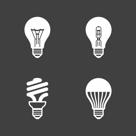 Lekkie ikony żarówki. Standardowy, halogen żarowe, fluorescencyjne, żarówki LED