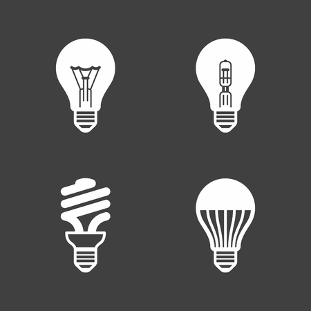 Light bulb icons. Standard, halogen incandescent, fluorescent and LED bulbs