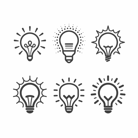 led: Light bulb icons set Illustration