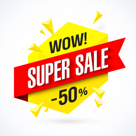 super market: Super Sale poster, banner background, big sale, clearance Illustration