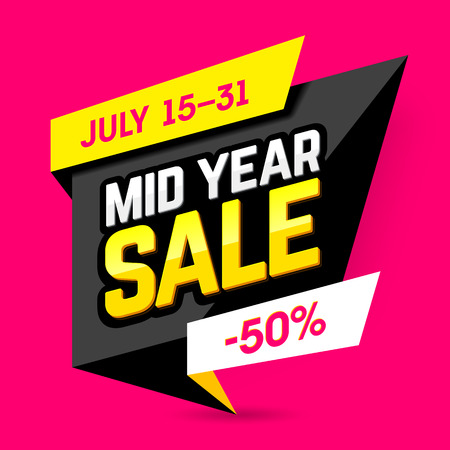 rebate: Mid Year Sale banner, poster. Big sale, special offer, discounts, 50% off Illustration