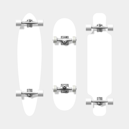skatepark: Blank skateboard and longboard shapes. Ready for your design