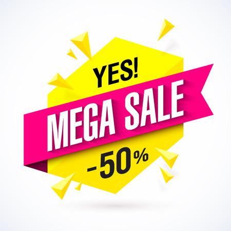 sale tag: Mega Sale poster, banner. Big super sale, up to 50% off Illustration