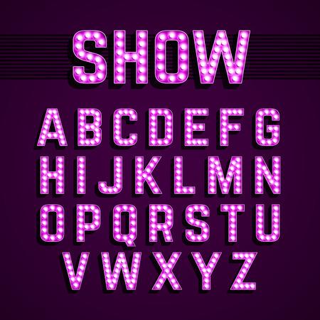 broadway show: Broadway lights style light bulb alphabet, night show