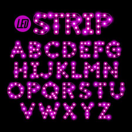 led: LED ribbon strip light alphabet Illustration