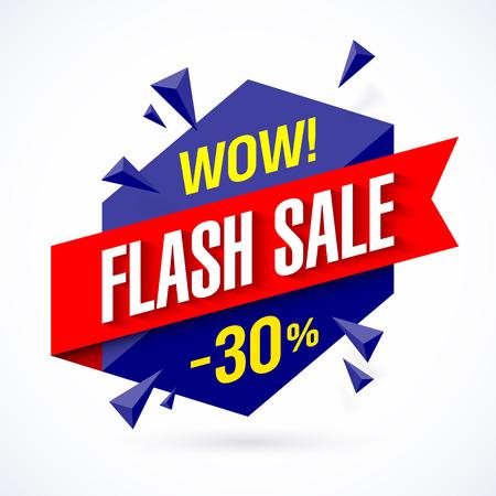 Flash Sale poster, banner. Grote super verkoop, tot 30% korting Vector Illustratie