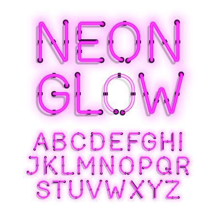 neon glow: Neon Glow alphabet on white background