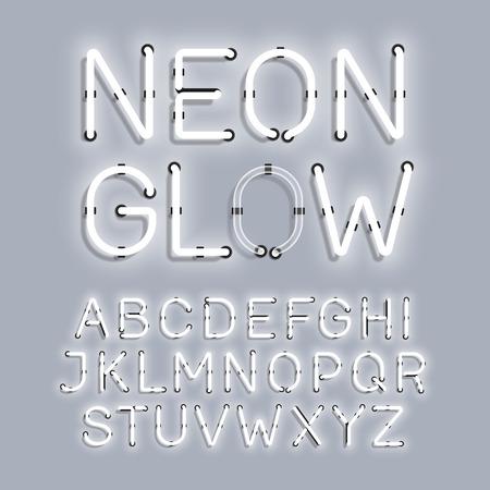 Type Blanc Neon Glow Vecteurs
