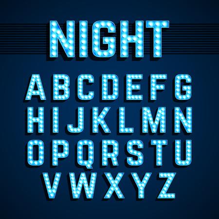 Broadway leuchtet Stil Glühbirne Alphabet, Night-Show Standard-Bild - 58279749