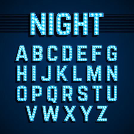 Broadway lights style light bulb alphabet, night show