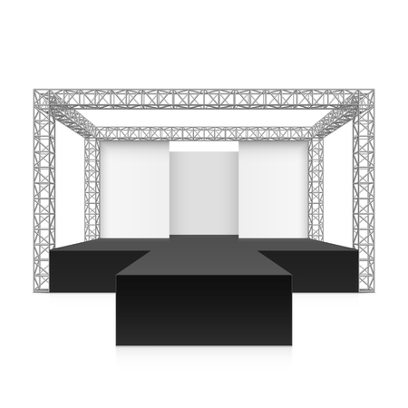 stage: Outdoor festival stage, podium, metal truss system