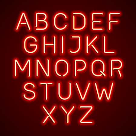 fluorescent tube: Red neon light glowing alphabet