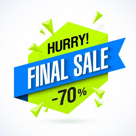 Final Sale poster, banner. Big super sale, up to 70% off Illustration