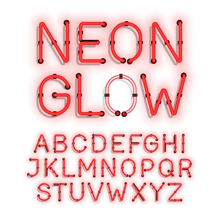 tubos fluorescentes: Resplandor de neón alfabeto sobre fondo blanco