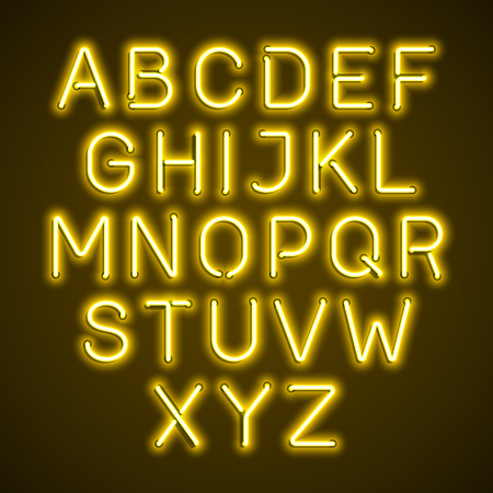 fluorescent tube: Yellow neon light glowing alphabet