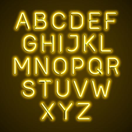 fluorescent tubes: Yellow neon light glowing alphabet