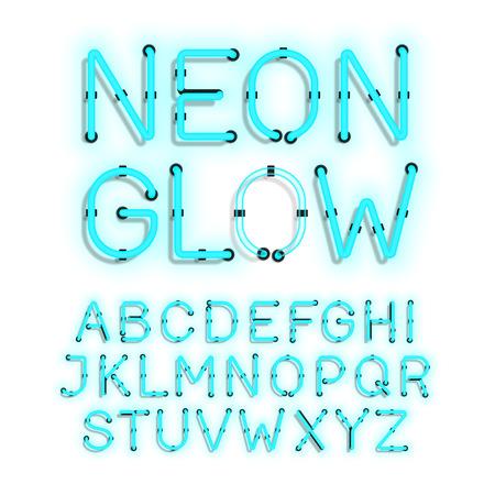 fluorescent tubes: Neon Glow alphabet on white background