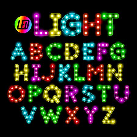 カラフルな LED ストリップ光アルファベット  イラスト・ベクター素材