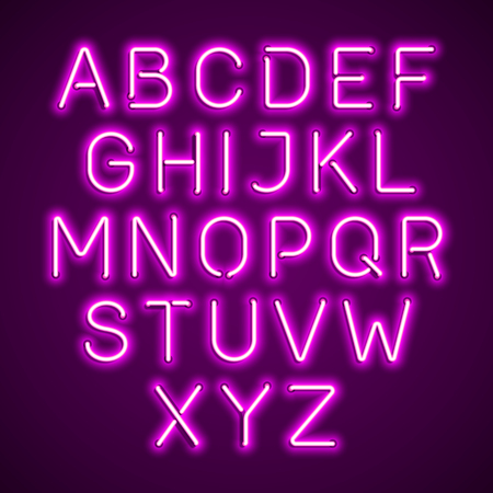 Pink neon light glowing alphabet 向量圖像