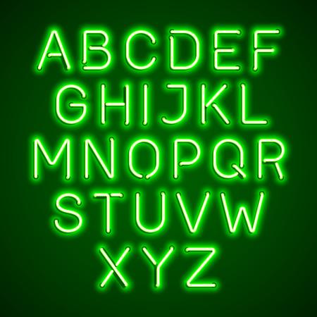 illuminated: Green neon light glowing