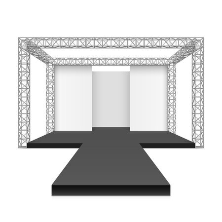 catwalk model: Fashion runway podium stage, metal truss system Illustration