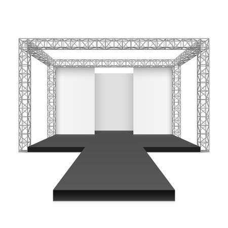 Fashion runway podium stage, metal truss system Illustration