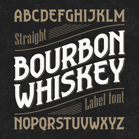 Bourbon whiskey label font with sample design. Ideal for any design in vintage style