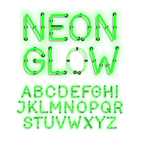 fluorescent tube: Neon Glow alphabet on white background