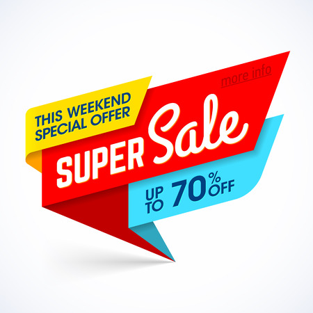 super market: Super Sale, this weekend special offer banner, up to 70% off