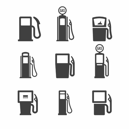 Gas pomp. Brandstof, gas, benzine, olie, benzine borden.