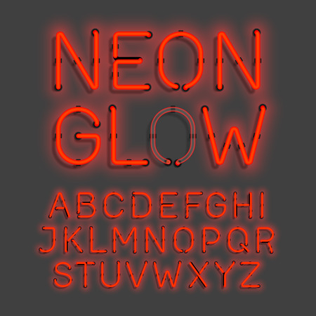 fluorescent tubes: neon glow alphabet